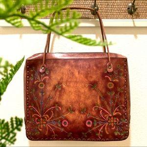 Vintage Tooled Floral Genuine Leather Cognac Tote
